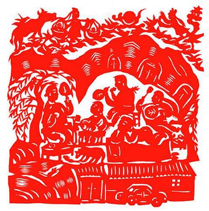 """2014年剪纸《大河之南 》获得""""我们的中国梦 ."""